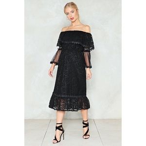 Nasty Gal Black Sheer Lace Dress